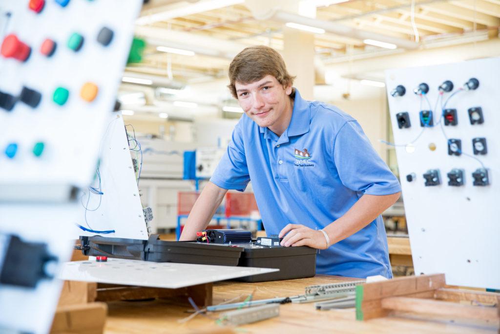 Jared Dawson in the CTA Mechatronics Lab