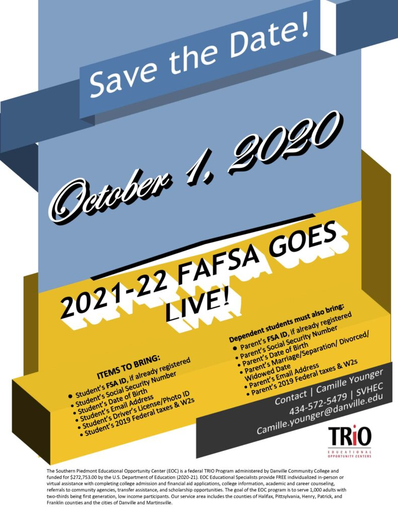 Flyer Promoting FAFSA Application Going Live on Oct. 1, 2020