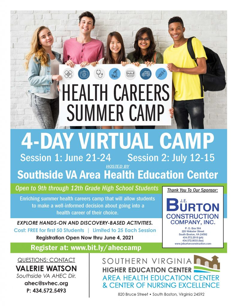 4-day, virtual health careers summer camp. Session 1 is June 21-24 and session 2 is July 12-15. Open to 9th-12th grade students. Register online at http://bit.ly/aheccamp.