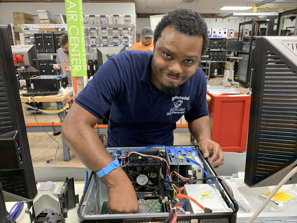 Andrew Barksdale, Jr completing a hands-on lab in the SVHEC's IT Academy